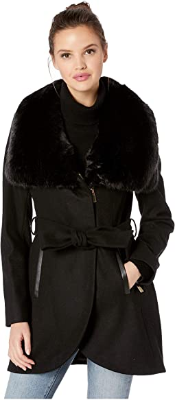 Wool with Faux Fur Collar and Belt