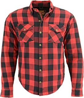 Milwaukee Leather MPM1631 Men's Armored Checkered Flannel Biker Shirt with Aramid by DuPont Fibers