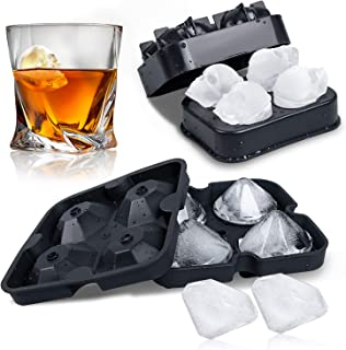 WETONG 3D Skull + Diamond Flexible Silicone Ice Cube Mold Tray For Whiskey Cocktail Beverages Silicone Ice Cube Molds, Makes 4 Giant Skulls and 4 Diamond Ice Molds
