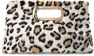 Fur Clutch Handbags Cut It Out Metal Handle Evening Bag Leopard and Tan