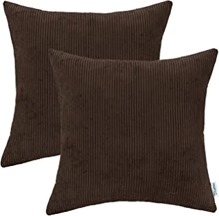 CaliTime Pack of 2 Cozy Throw Pillow Covers Cases for Couch Bed Sofa Ultra Soft Corduroy Striped Both Sides 20 X 20 Inches Coffee