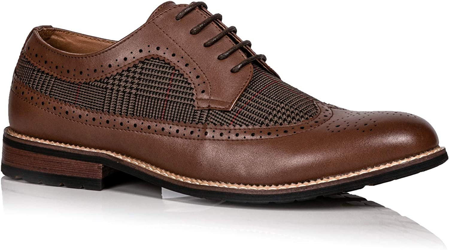 Metrocharm MC316 Men's Tweed Perforated Wing Tip Lace Up Dress Oxford Shoe