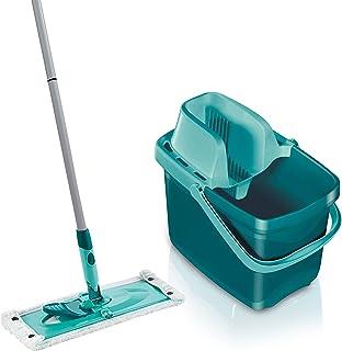 Leifheit Set Combi Clean M, seau et balai essoreur faciles d'utilisation, balais serpillière avec mécanisme d'essorage int...