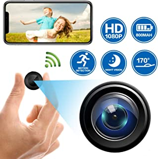 Mini Spy Camera WiFi Wireless Hidden Video Nanny Cameras, 1080P HD Night Vision Motion Activated Covert Small Security Camera with Cell Phone App and Audio for Home, Car, Office via Android or iOS