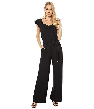 MICHAEL Michael Kors V-Neck Flutter Sleeve Jumpsuit (Black) Women