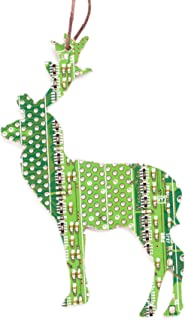 Green Deer Christmas Tree Ornament, recycled circuit board, gift for computer geeks