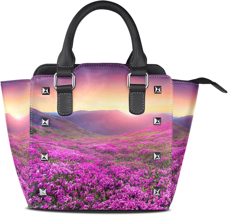 My Little Nest Women's Top Handle Satchel Handbag Pink Flowers Ladies PU Leather Shoulder Bag Crossbody Bag