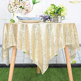 48x48-Inch Square-Sequin Tablecloth-Light Gold, 2019 Sequin Table Cloth/Overlay/Cover Glitz Table Linen (Light Gold)