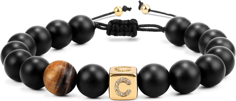 BYIA Beaded Bracelet for Women Men, A-Z Letter Tiger's Eye Black Matte Obsidian Beads Bangle Bracelet for Friend Family Lover Birthday Anniversary Memorial Jewelry Gift