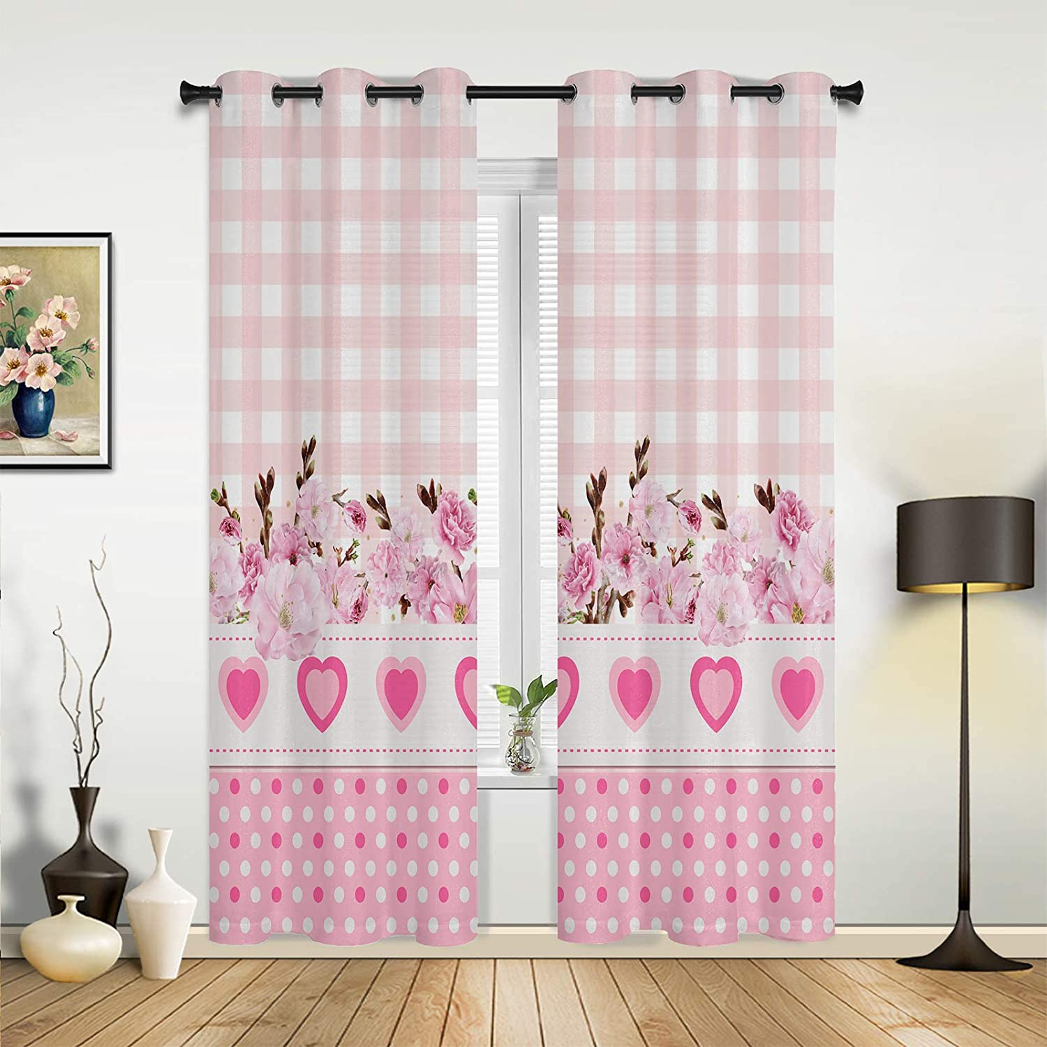 Window Sheer Curtains for Bedroom Very popular New arrival Mother's Pink Happy Living Day