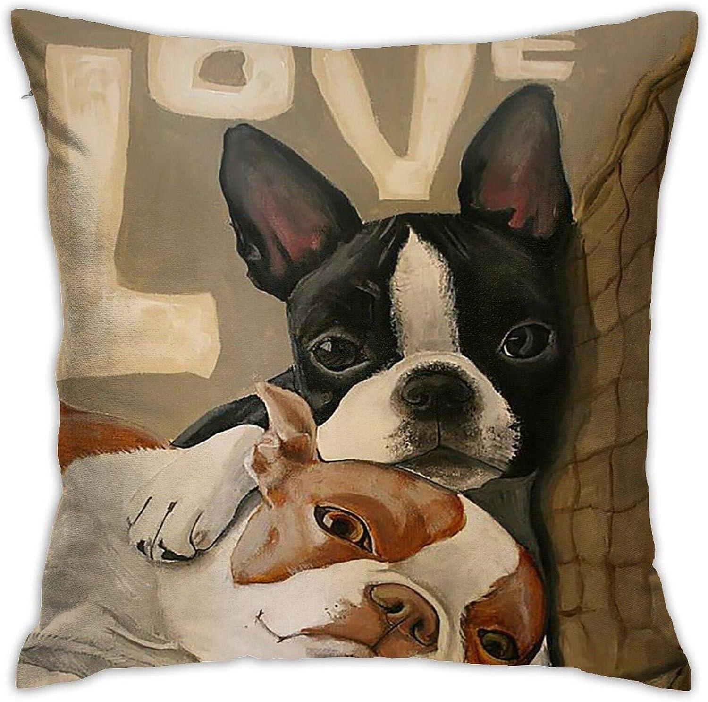 Faizash Boston Terrier Dog Pattern Decorative Cushion Pillows Case, Home Decor Indoor Throw Pillow Cover Cases Sofa Bed Car Living 18