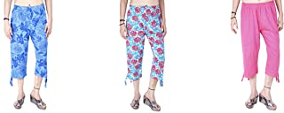 MUKHAKSH (Pack of 3) Women/Girls/Ladies Hot Safi Cotton Capri 3/4 for Casual & Sports wear (Print May Vary)