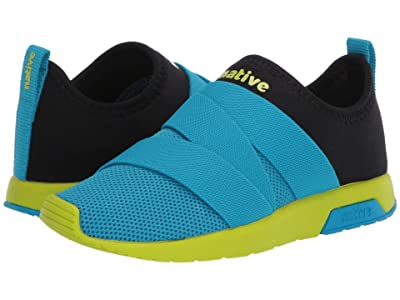 Native Kids Shoes Phoenix (Little Kid) (Vivid Blue/Jiffy Black/Chartreuse Green) Boy