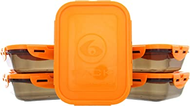 6 Pack Fitness Sure Seal Containers 20oz Black/Neon Orange Set of 5
