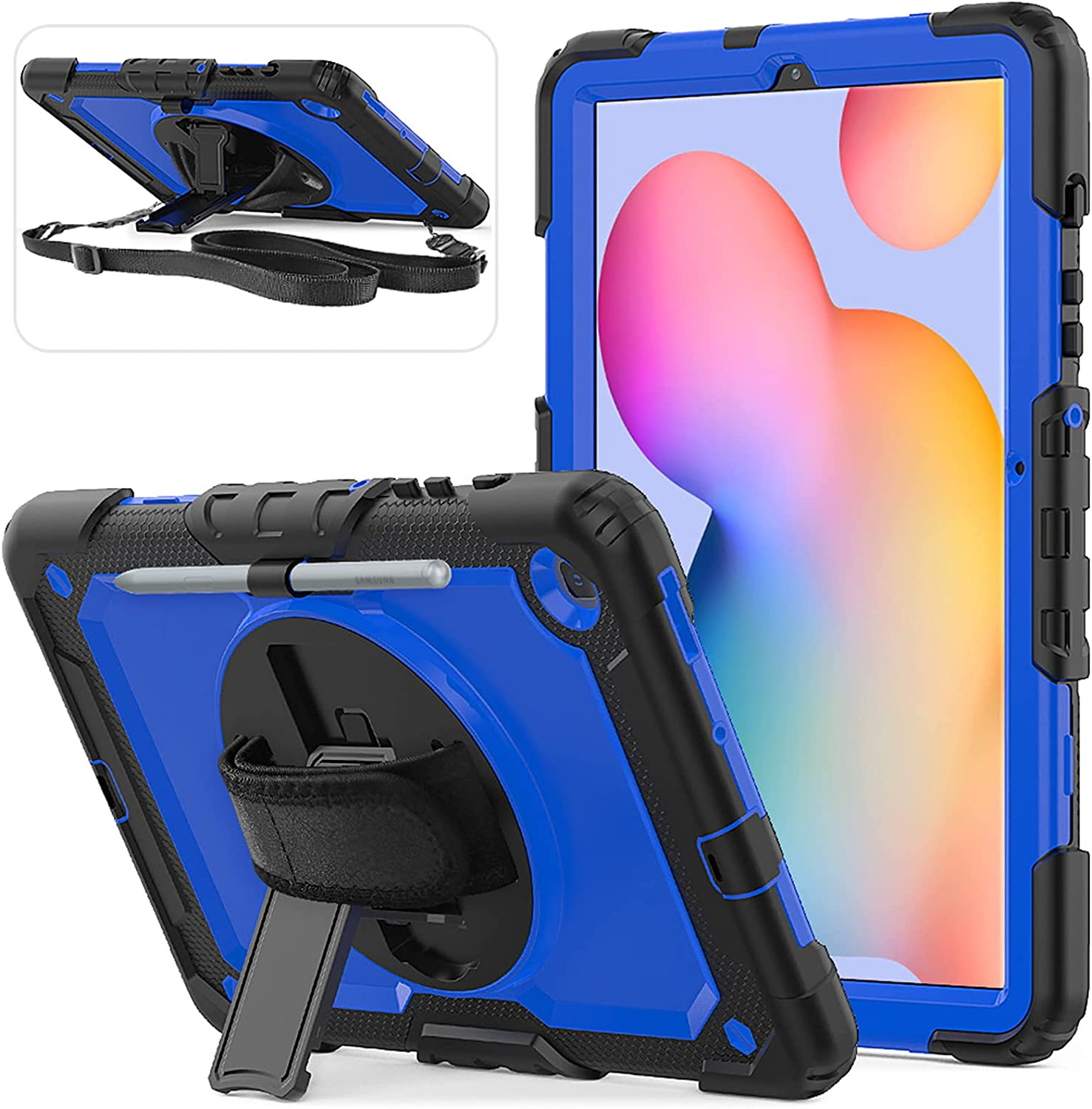 Herize Samsung Galaxy Tab S6 Lite Case SM-P610/P615 with Screen Protector   Three Layer Child Proof Drop Protection Silicon Cover W/ 360° Kickstand Shoulder Strap for Tab S6 Lite 10.4 Inch   Blue