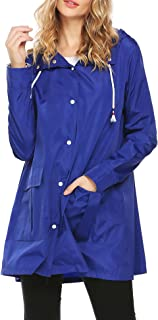 Womens Long Sleeve Lightweight Hooded Drawstring Trench Raincoat Outdoor Waterproof Jacket