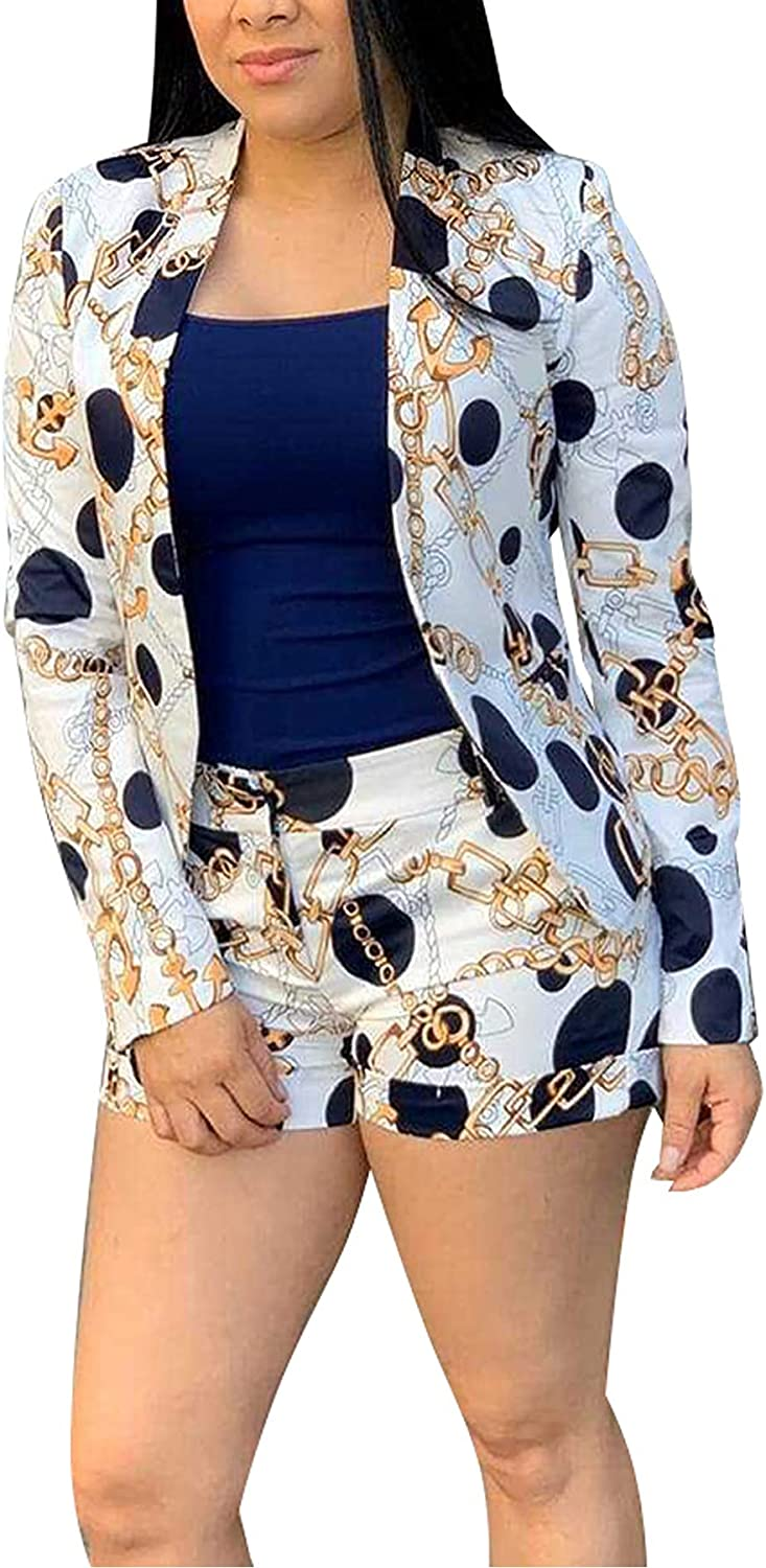 Vaceky Women's Casual Two Piece Outfits Long Sleeve Chain Print Blazer Shorts Set Workout Tracksuit