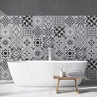 54 (Piezas) Adhesivo para Azulejos 10x10 cm - PS00096 - FES - Adhesivo Decorativo para Azulejos para baño y Cocina - Stickers Azulejos - Collage de Azulejos