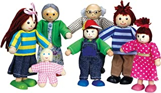 Bgifts Wooden Family Doll Set – 7-Piece Family Wooden Doll Play Set – Poseable Wooden Dolls for Toddlers