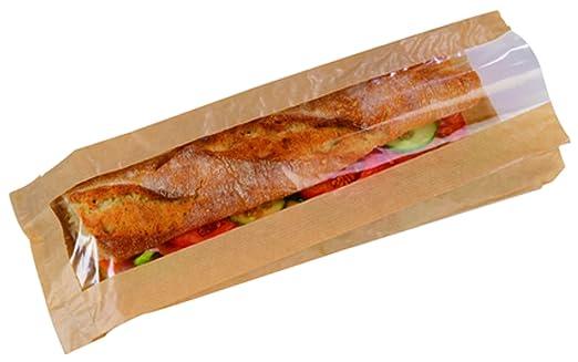 PacknWood KraftPaper Sandwich Bag with Window Case of 1000 4.75 x 1.57 x 13.4