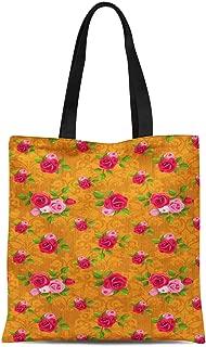 S4Sassy Blue Damask Floral Printed Re-Usable Tote Bag Women Shoulder Handbag Travel Shopping Bag 16x12 Inches