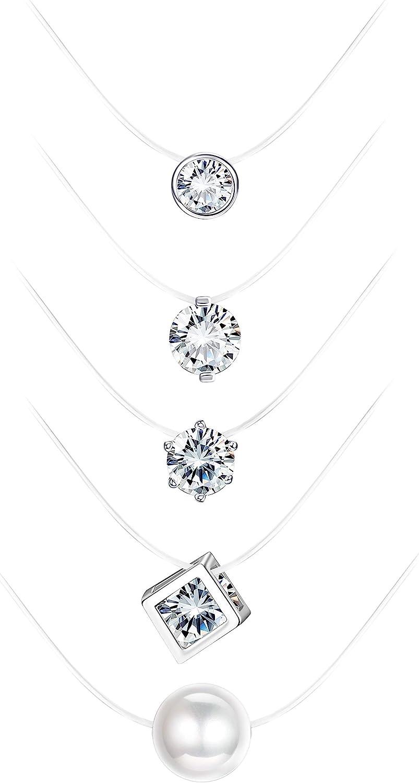 MILACOLATO 5Pcs Transparent Fishing Line Necklace Solitaire Dazzling Zircon Clear Pearl Choker Necklace
