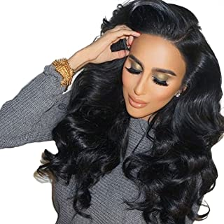 Remeehi Thicken Density Body Wave Glueless Wigs Brazilian Human Hair Lace Front Wigs Bleached Knots With Combs And Straps 12 Inches 1B/30# Highlights