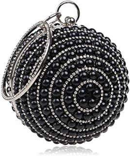 Fine Bag/Women's Beaded Sequin Pearl Clutch Bag - Vintage Beaded Evening Bag, Bridal Bag, Clutch Bags for Wedding, Party Banquet Bag (Color : Black, Size : One Size)