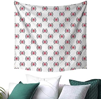 c677e218b4 Compass Tapestry for Living Room Diagonal Lines Diamond Pattern with  Windrose and Laurel Wreath Nautical Picnic