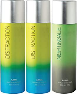 Ajmal 2 Distraction & Nightingale Deodorant Combo Pack of 3 Deodorants 200ml each (Total 600ML) for Men & Women + 4 Parfum...