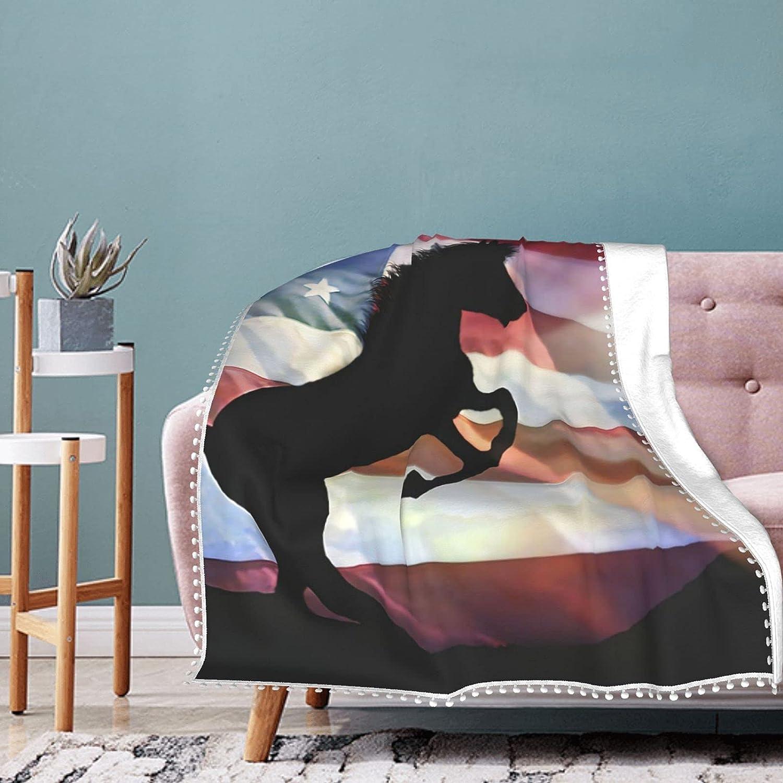 mengmeng Mantas de franela de forro polar con diseño de caballo y bandera americana, súper suave, mullidas y cálidas mantas para sofá manta de microfibra de 152 x 127 cm