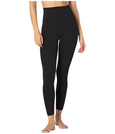 Beyond Yoga Heather Rib High Waisted Midi Leggings (Black Heather) Women
