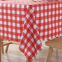 PVC Tablecloth Vinyl Oilcloth Picnic Wipeable Plastic Spillproof Peva Oil-Proof WaterproofTable Heavy Duty Western Small Square Card Tablecloths Red and White Checkered 4 ft 54x54 Inch