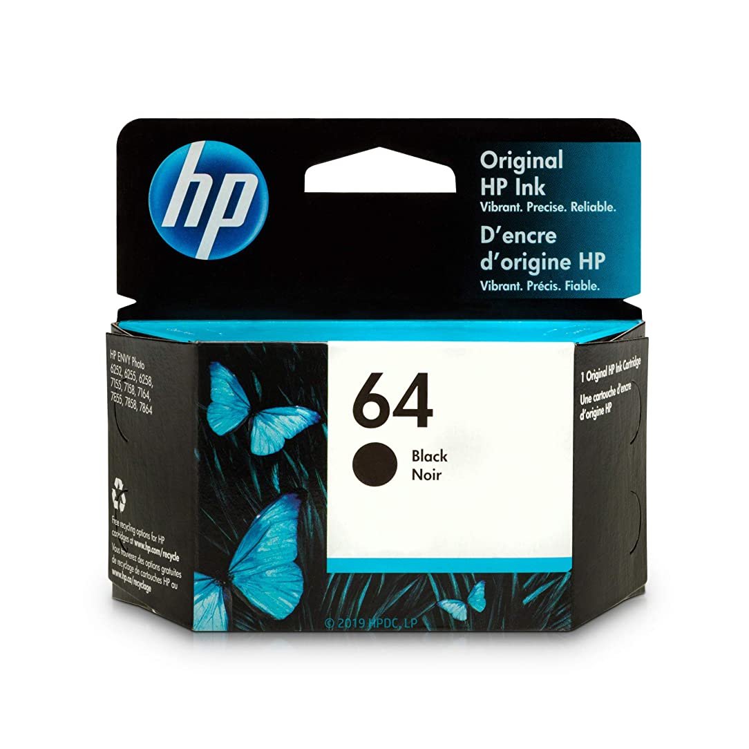HP 64 Black Ink Cartridge (N9J90AN) for HP ENVY Photo 6252 6255 6258 7155 7158 7164 7855 7858 7864 HP ENVY 5542