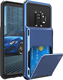 ELOVEN Wallet Card Series for Galaxy S9 Case with Card Slot Hidden Credit Card ID Cover Shock Absorption Heavy Duty Drop Protection Rugged Bumper Protective Cover for Samsung Galaxy S9,Navy Blue