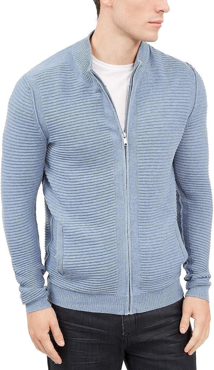 Alfani Mens Cotton Pleated Full Zip Sweater Blue