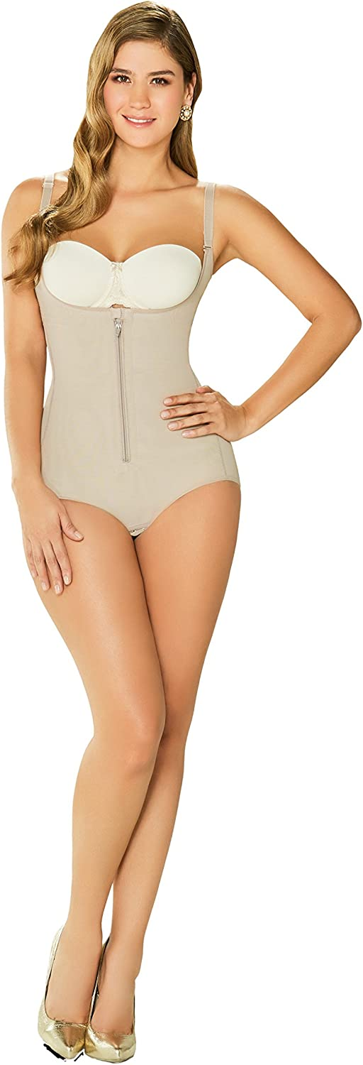DIANE & GEORDI 2411 Powernet Bodysuit Shapewear for Women with Zipper Beige