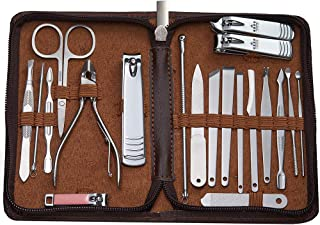 MUYDA Professional Stainless Nail Tool Knife Set Pedicure Set Baby Nail Clippers For Men And Women Gifts(Coffee color,20)