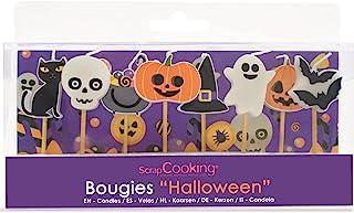SCRAP COOKING Kit de 8 Bougies Halloween, Décoration Bois Paraffine Gâteau-Citrouille Chat Fantôme, Accessoire Anniversair...
