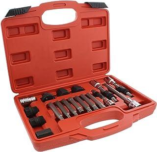 ABN Alternator Pulley Service Decoupler 18-Piece Insert Bit Socket Set Tool Kit – Car Pulley Removal Decoupling Puller