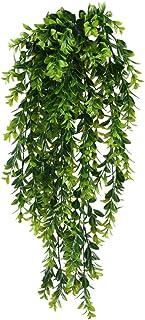 MIHOUNION Falso colgante de plantas 2PCS Plástico falso que cuelga el verdor Planta de la hoja UV Cortijo Plantas artifici...