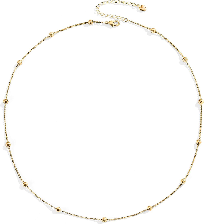 Choker Necklace 18K Gold Plated Dainty Gold Chain Tiny Satellite Bead Choker Layering Minimalist Jewelry for Women 16''