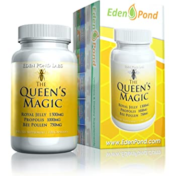 Eden Pond Queen's Magic Bee Pollen (Royal Jelly 1000mg, Propolis 750mg, Beepollen 1500mg) in 3 Daily Capsules, 120Count