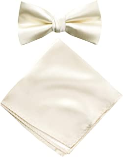 Spring Notion Men's Solid Color Satin Microfiber Bow Tie and Hankerchief Set