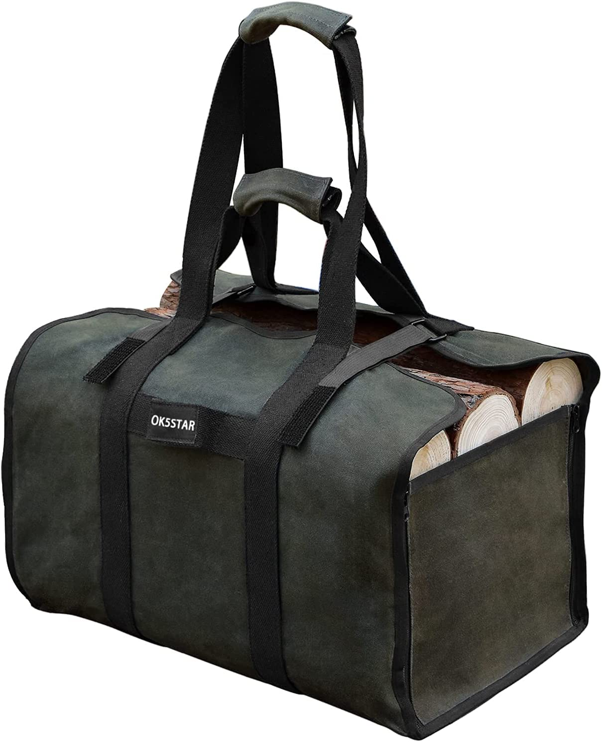 low-pricing OK5STAR Black Large Firewood Carrier Waxed I Tote Log Canvas High order Bag