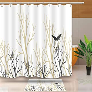 Tree Birch Branches Bird Fall Themed Decor Shower Curtain Design, Waterproof Fabric for Bathroom Accessories, No Liner Needed, 72 X 72 Inches, WQNT009-72
