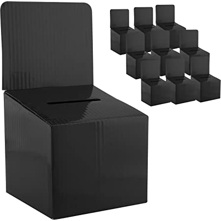 MCB - Medium Cardboard Box - Ballot Box - Suggestion Box - Raffle Box - Ticket Box - with Removable Header for Tabletop Use (10 Pack, Black)