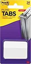 Post-it Tabs, 2 in. Angled Solid, White, Durable, Writable, Repositionable, Sticks Securely, Removes Cleanly, 24 Tabs/Pack, (686A-24WE)
