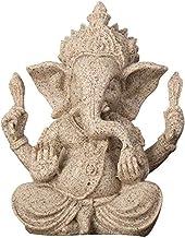 1pcs Religious Sandstone Ganesha Buddha Statue Ornament, Handmade Natural Sandstone Elephant God Sculpture Craft, Figurine...