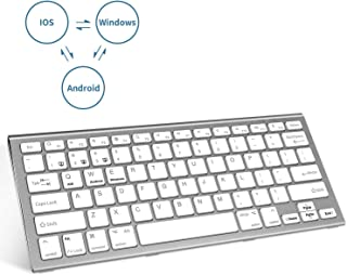 SMFR Bluetooth Keyboard Rechargeable Three System Switching Small Wireless Compatible Keyboard for Android Windows iOS iPad Pro, iPhone,Mac OS Tablet Laptop-Silver White